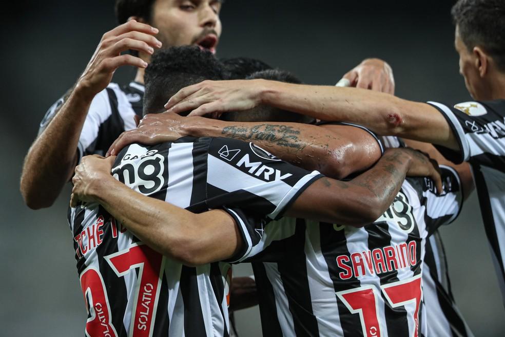 Jogadores do Atlético-MG comemoram gol diante do Cerro — Foto: Pedro Souza/Atlético-MG