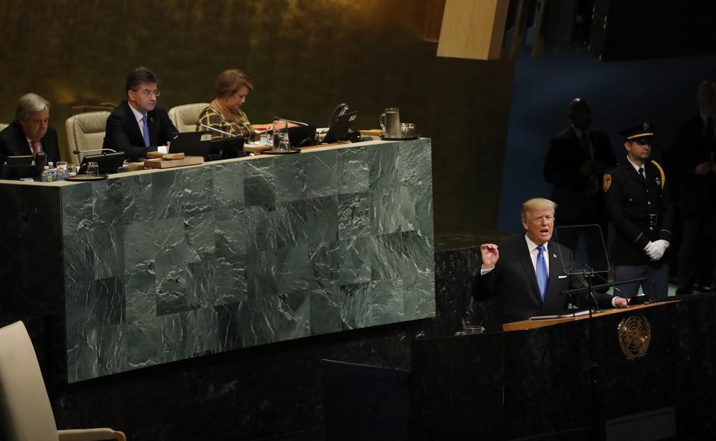 Donald Trump discursa durante 72ª Assembleia Geral das Nações Unidas (Foto: Shannon Stapleton/Reuters)
