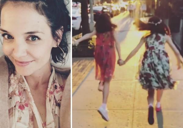 A atriz Katie Holmes e a filha com uma amiguinha (Foto: Instagram)