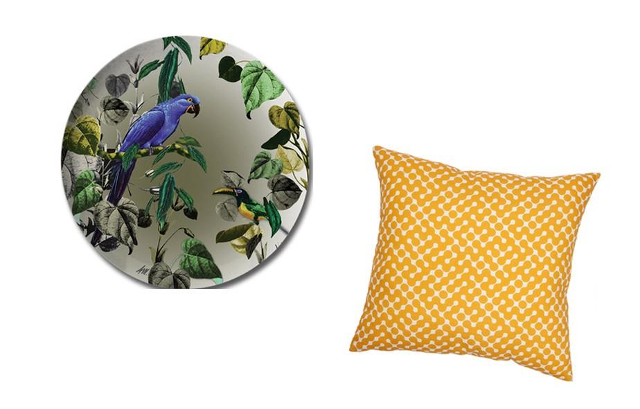 A designer têxtil Anna Milliet lança sua coleção de produtos com estampas exclusivas, como o jogo americano redondo, impresso em PS, um plástico rígido, leve, resistente e impermeável. A LC Prints apresenta novos tecidos, como o padrão amarelo geométrico