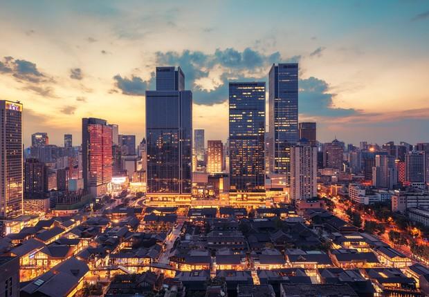 Chengdu, na China, é uma das cidades que ganhará status de megalópole até 2030 (Foto: Getty Images)