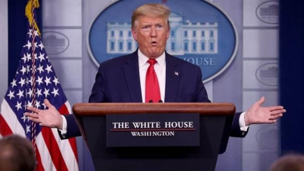 O presidente Trump disse que ítens médicos desviados do exterior são urgentemente necessários nos EUA — Foto: Getty Images/Via BBC