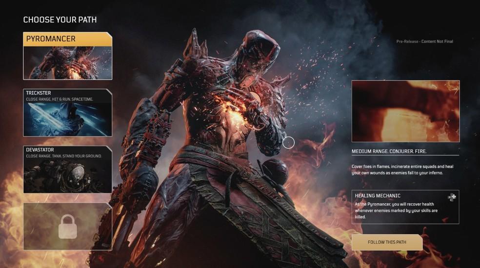 O jogador escolhe sua habilidade especial após a parte inicial do game — Foto: Reprodução/Pedro Vital