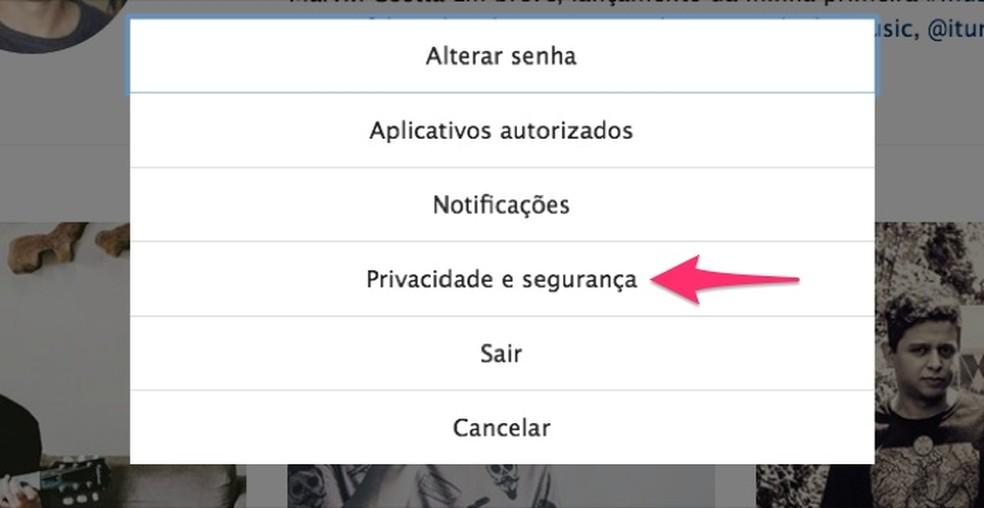 Ação para acessar as configurações de privacidade e segurança do Instagram web (Foto: Reprodução/Marvin Costa)