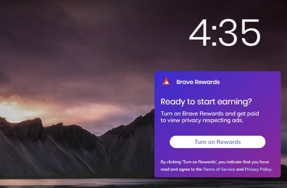 Área para ativar e monitorar recompensas obtidas ao navegador usando o Brave — Foto: Reprodução/Marvin Costa