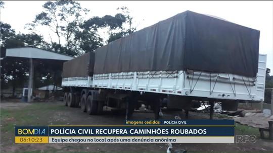 Operação policial recupera caminhões roubados em chácara, em Araucária