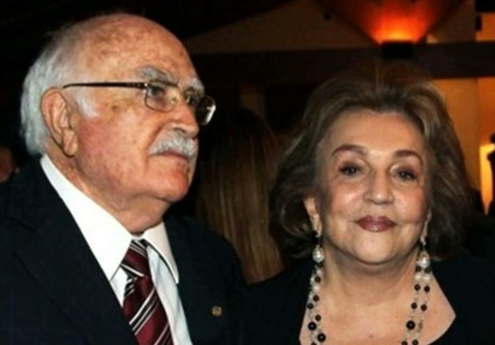 Ex-governador da Paraíba, Wilson Braga, e a esposa, ex-deputada federal, Lúcia Braga — Foto: Reprodução/TV Cabo Branco