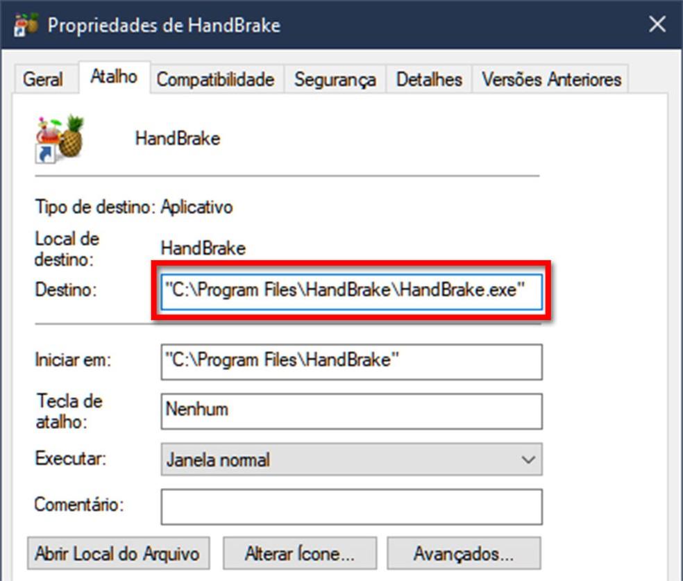 Em atalhos do Windows, caminhos de arquivos devem ser escritos com aspas no começo e no fim para evitar ambiguidades. — Foto: Reprodução