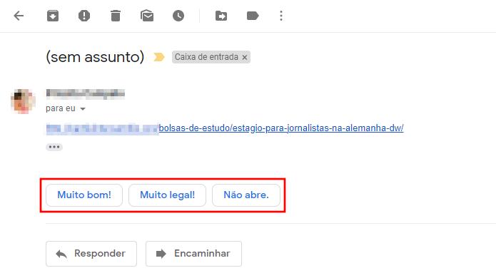 Gmail oferece respostas rápidas para usar com um clique (Foto: Reprodução/Paulo Alves)