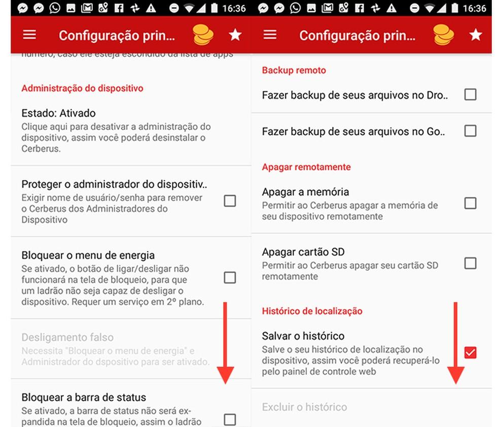 Opções principais do app de segurança Cerberus para Android (Foto: Reprodução/Marvin Costa)