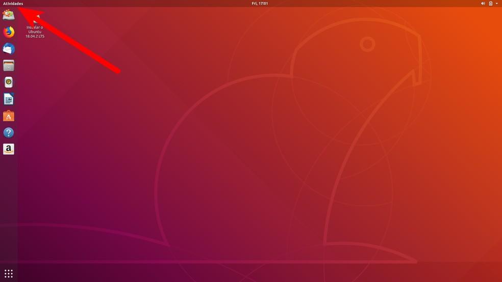 """Menu """"Atividades""""' dá acesso à apps do Ubuntu — Foto: Reprodução/Filipe Garrett"""