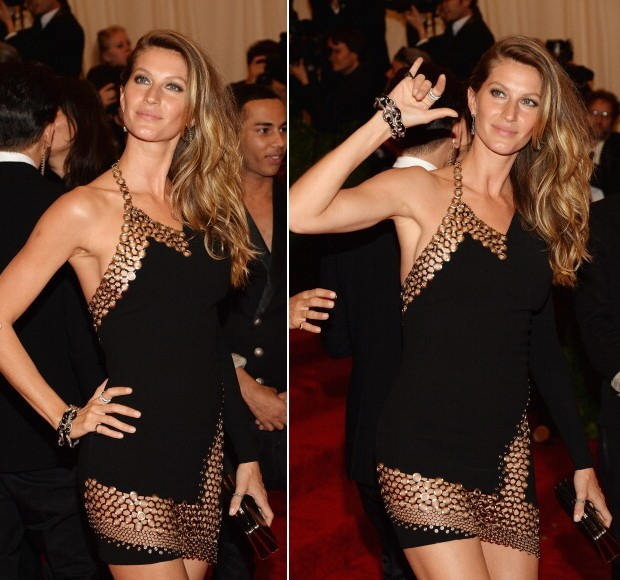 O look Anthony Vaccarello de Gisele Bündchen no gala do MET (Foto: Getty Images)