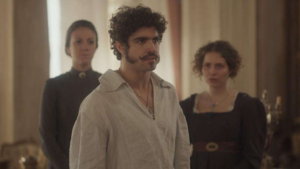 Dom Pedro (Caio Castro)  é duro com Domitila (Agatha Moreira) e a manda embora para São Paulo. Em 'Novo Mundo' — Foto: TV Globo