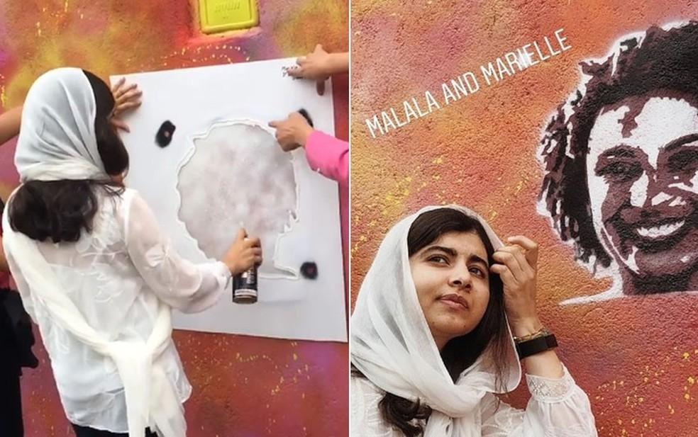 No Rio, em julho, Malala aprendeu a fazer grafite e pintou um retrato de Marielle com a ajuda da artista Panmela Castro — Foto: Reprodução/Instagram