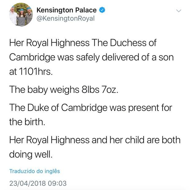 Nasce o terceiro filho de Kate Middleton e príncipe William (Foto: Reprodução/Twitter)
