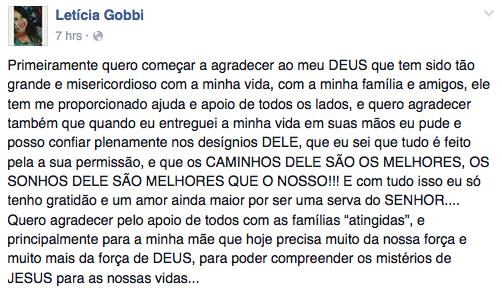 Em uma rede social, Letícia agradeceu a Deus, à família e aos amigos.  (Foto: Reprodução/ Facebook)