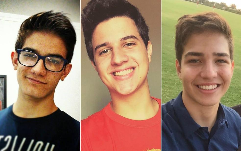 Os jovens Eduardo Brandão (esquerda), João Moura Mattos Nogueira (centro) e Henrique Pini Maniglia (direita) morreram em capotagem em Franca, SP  (Foto: Reprodução/Facebook)
