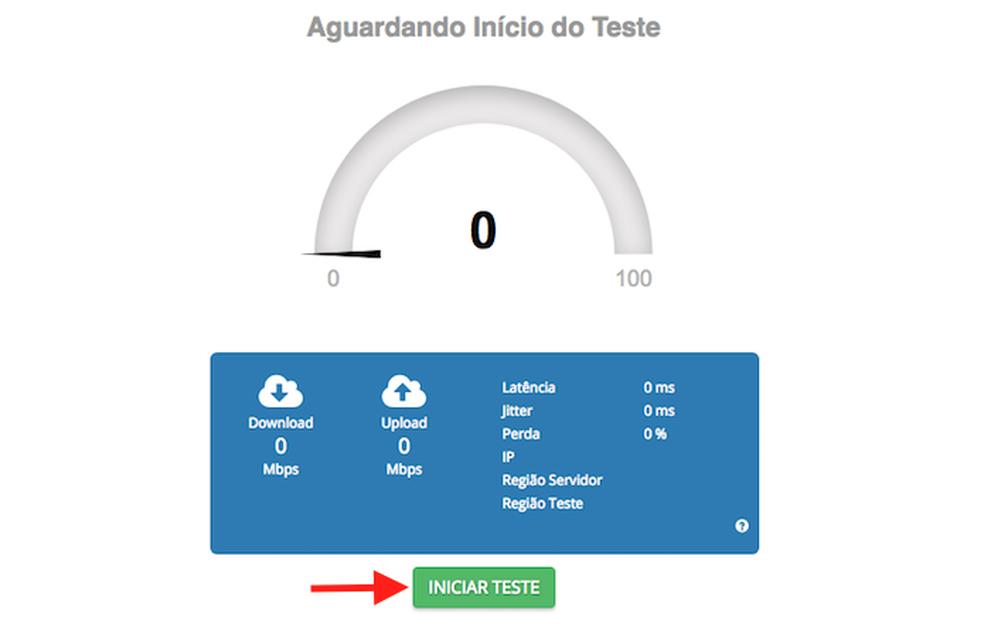 Ação para iniciar um teste de Internet usando o serviço Brasil Banda Larga (Foto: Reprodução/Marvin Costa)