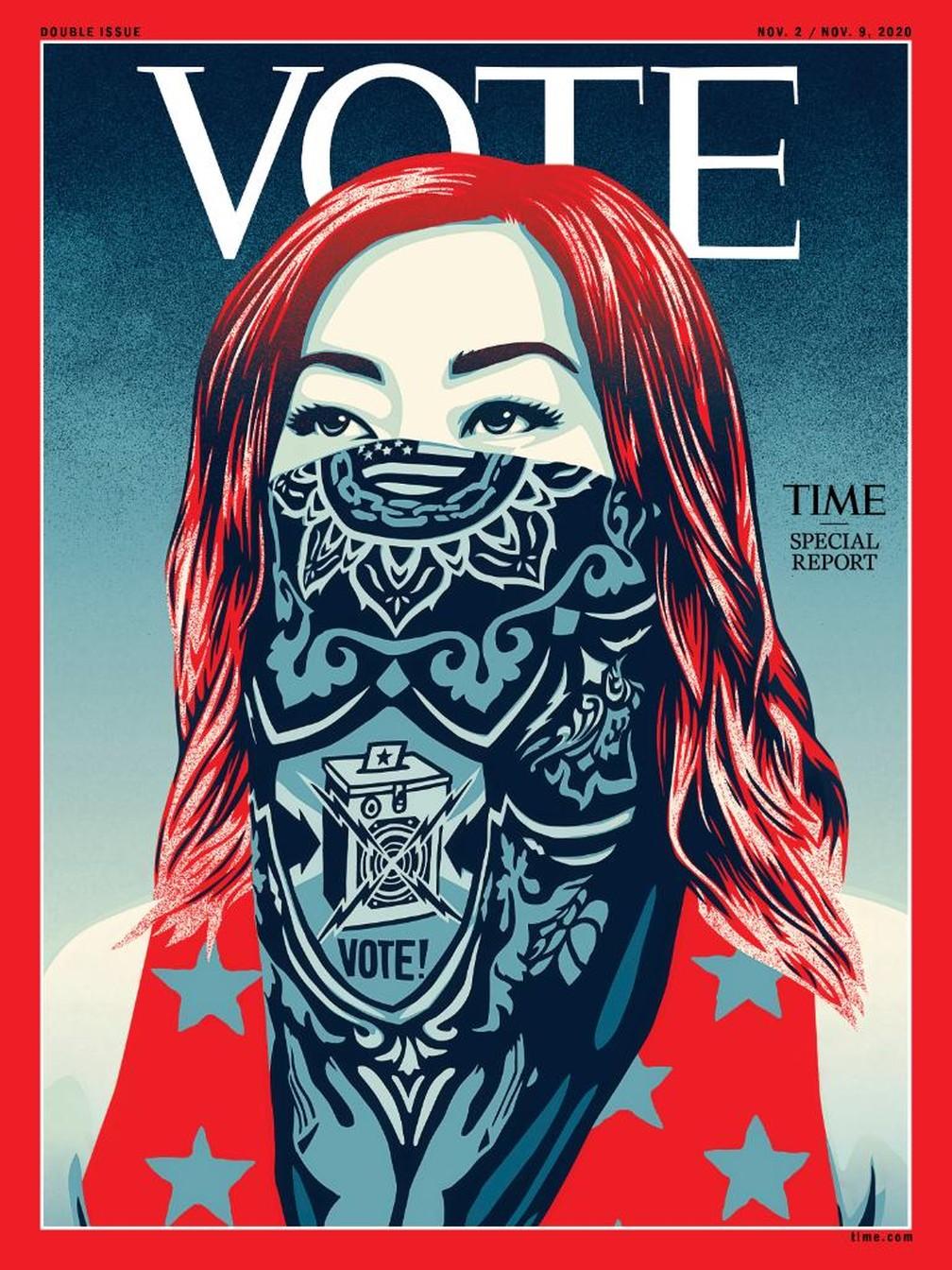 """Revista """"Time"""" mudou como seu nome aparece na capa pela primeira vez na história: """"Vote"""" — Foto: Reprodução/Twitter/Time"""