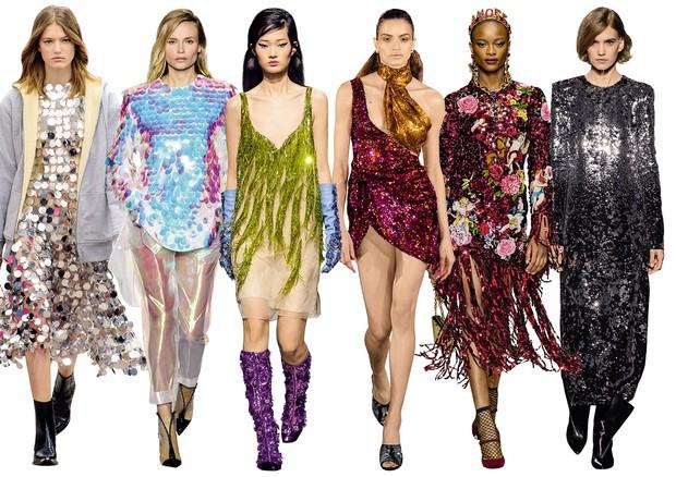 Da esquerda para direita: Paco Rabanne, Balmain, Kenzo, Halpern, Dolce & Gabbana, Givenchy (Foto: Corey Tenold, Christine Spengler/divulgação, Collier Schorr/divulgação, Imaxtree)