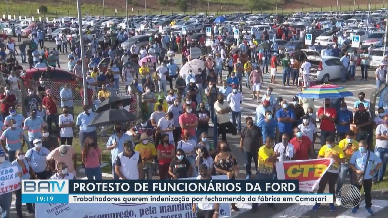 Fechamento de unidade da Ford em Camaçari gera novo protesto de funcionários