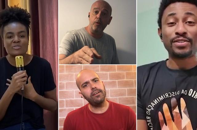 A jogadora de vôlei Fabiana, os apresentadores Alex Escobar e Lucas Gutierrez e o repórter Diego Moraes gravam 'Pro dia nascer feliz' (Foto: Rede Globo / Divulgação)