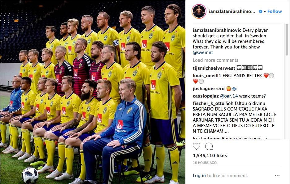 Os parabéns de Zlatan Ibrahimovic para seus colegas de seleção da Suécia pela campanha da equipe na Copa do Mundo (Foto: Instagram)