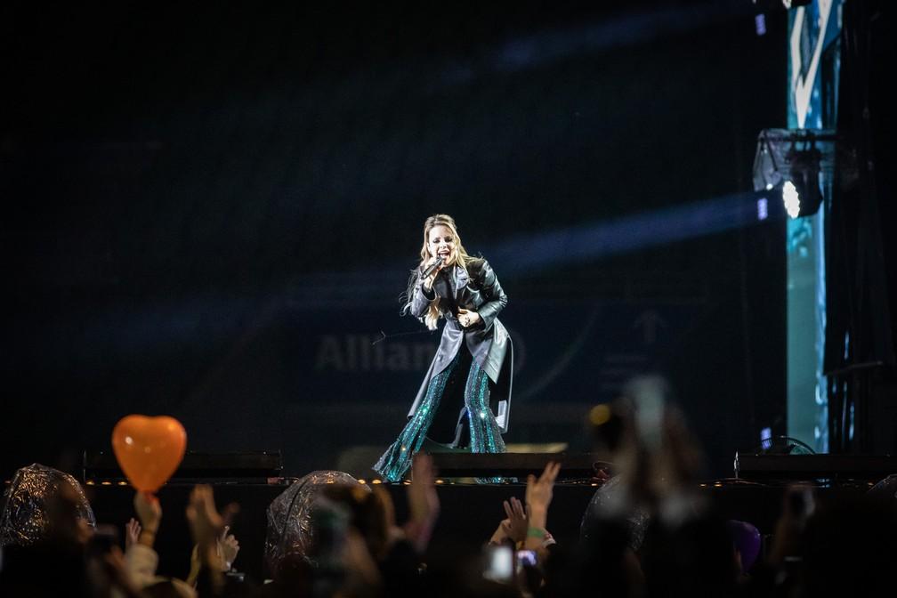 Sandy durante show da turnê 'Nossa História', em SP — Foto: Fábio Tito/G1
