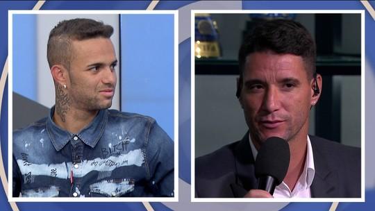 """Após polêmica, Thiago Neves e Luan selam paz ao vivo no """"Bem, Amigos!"""""""