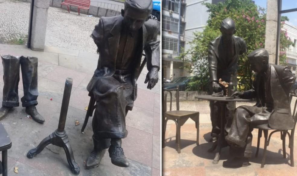 Estátua de Noel Rosa antes e depois dos roubos — Foto: Reprodução TV Globo e Alexandre Macieira/Riotur