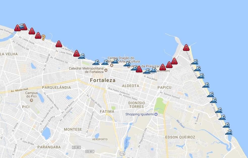 -  Boletim de balneabilidade do litoral de Fortaleza para os dias 13 e 14 de janeiro de 2018  Foto: Reprodução/Semace