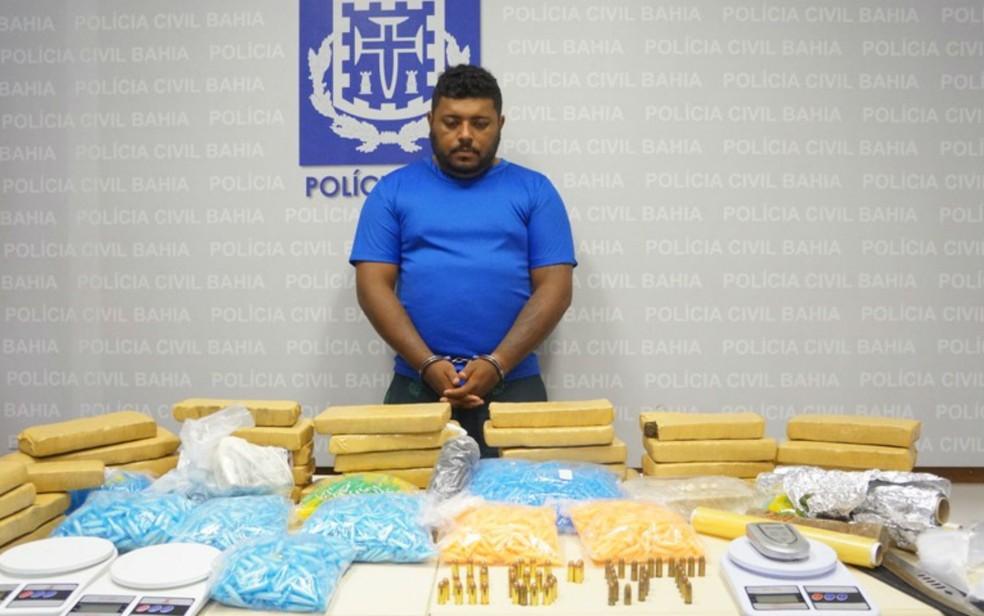 Suspeito de envolvimento na morte de policial foi preso com drogas na Bahia (Foto: Divulgação/Polícia Civil)