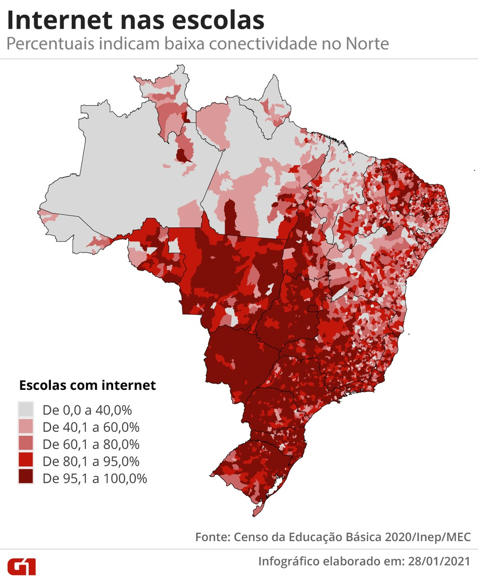 Infográfico mostra a oferta de internet nas escolas do Brasil; cores cinzas apontam internet em até 40% das escolas, os tons de vermelho indicam outros percentuais — Foto: Guilherme Pinheiro/Infografia G1