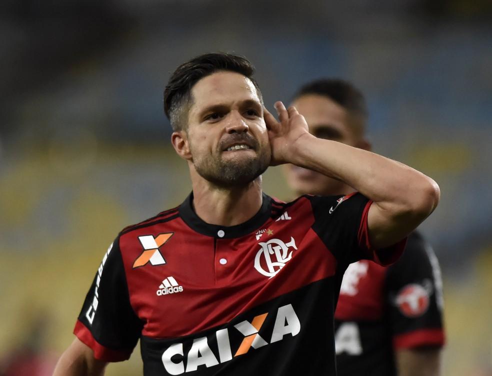 Com expressão forte, Diego comemorou muito o gol contra o Botafogo: agora são 17 gols em 51 jogos pelo Flamengo (Foto: André Durão / GloboEsporte.com)