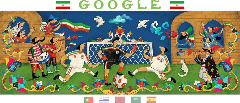 Google do Irã, de autoria de Rashin Kheiriyeh, mostra uma partida da seleção com torcedores animados em volta (Foto: Reprodução/Google)