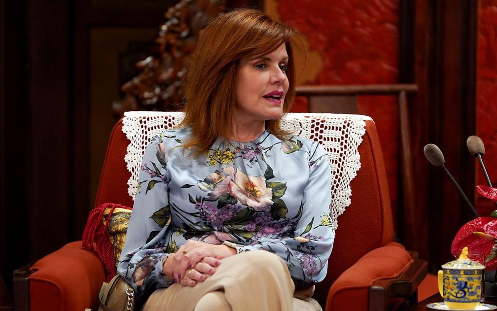 Mercedes Araoz foi nomeada pelo Congresso como presidente interina do Peru — Foto: Andrea Verdelli / Pool / via REUTERS
