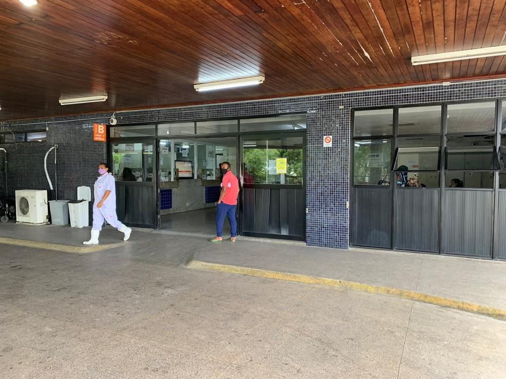 Hospital Walfredo Gurgel é uma das unidades com alimentação de servidores paralisadas por causa da greve dos terceirizados da saúde. — Foto: Anna Alyne Cunha/Inter TV Cabugi