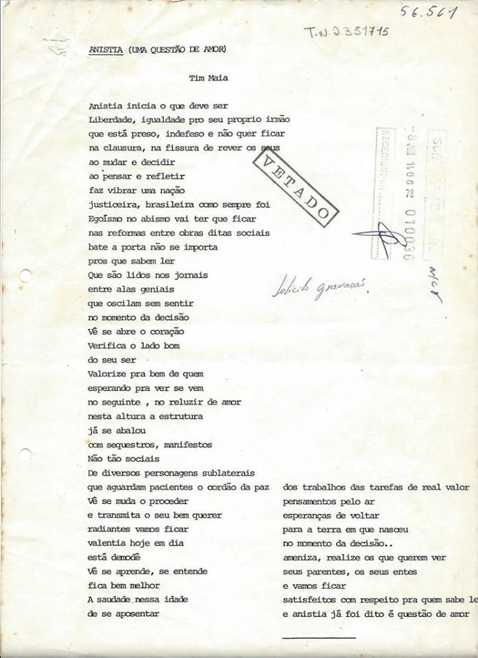 Parecer da censura sobre a música 'Anistia (Uma questão de amor)', de Tim Maia — Foto: Reprodução