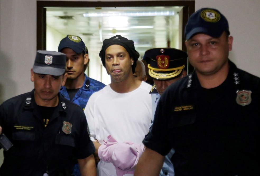 Ronaldinho Gaúcho foi preso preventivamente pela policia paraguaia na última sexta-feira — Foto: REUTERS/Jorge Adorno