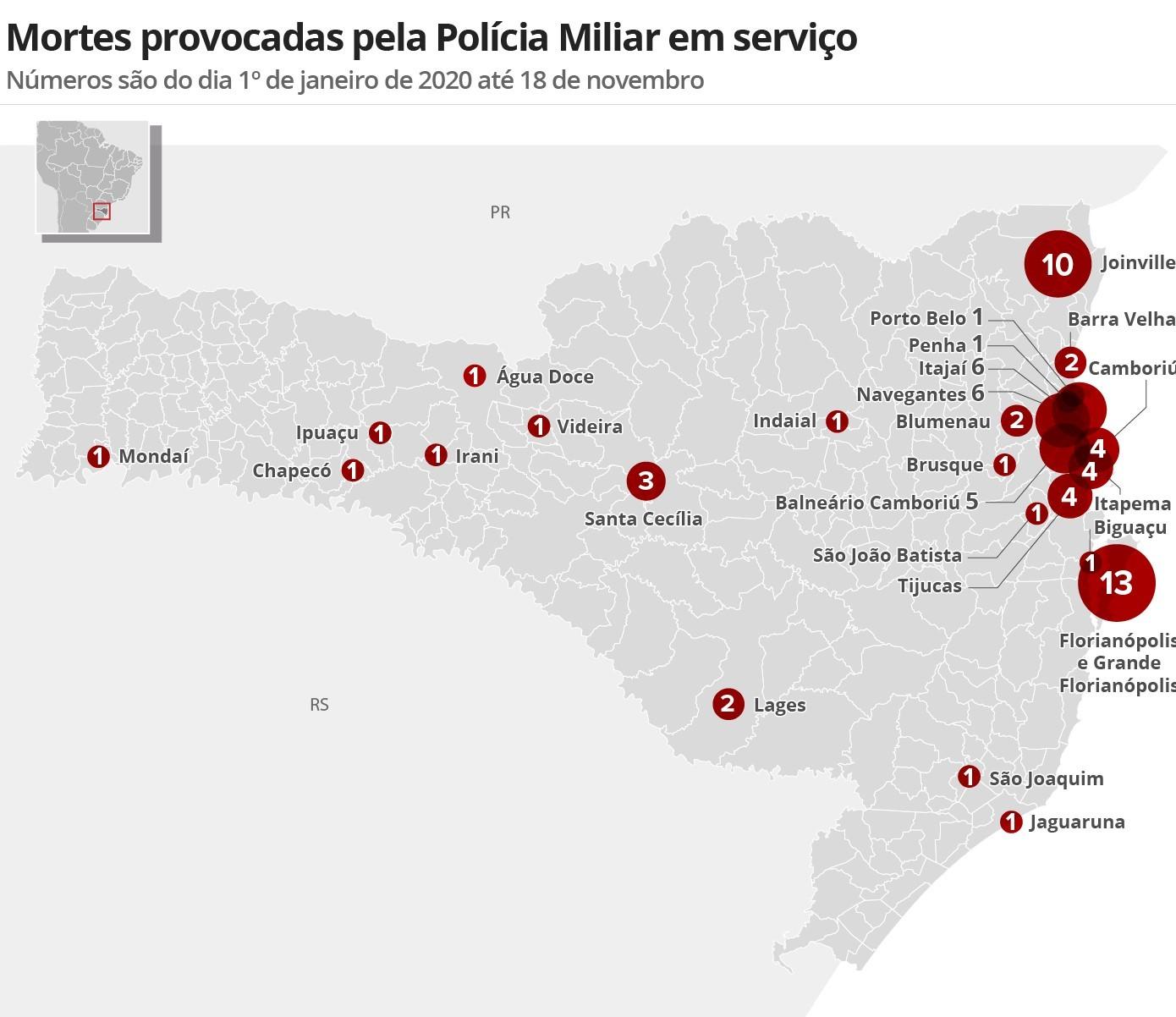 Nº de pessoas mortas pela Polícia Militar cresce 17% em SC