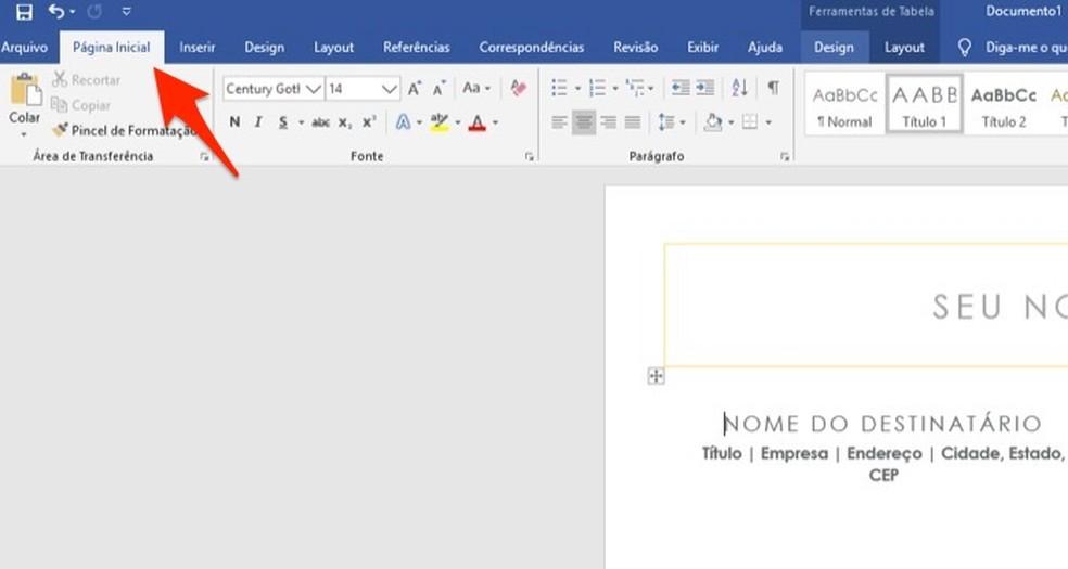 Ação para se manter na página inicial de um documento aberto no Microsoft Word — Foto: Reprodução/Marvin Costa