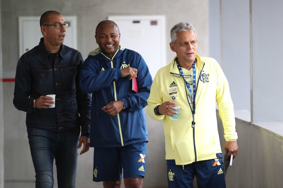 Mozer, com Redín e Rueda: permanência de dupla colombiana é incerta no Flamengo. Clube prepara anúncios para os próximos dias (Foto: Gilvan de Souza/Flamengo)