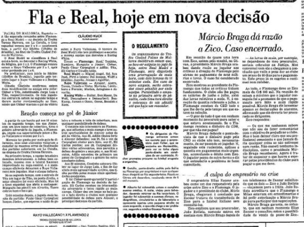 Partida foi destaque no Jornal O Globo — Foto: Acervo Jornal O Globo