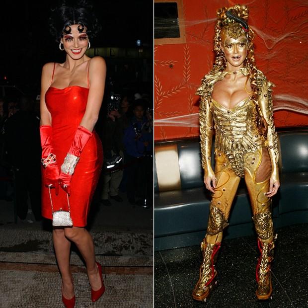 Em 2002, Heidi Klum como Lady Godiva. Em 2003, Heidi como uma alienígena futurística (Foto: Getty Images)