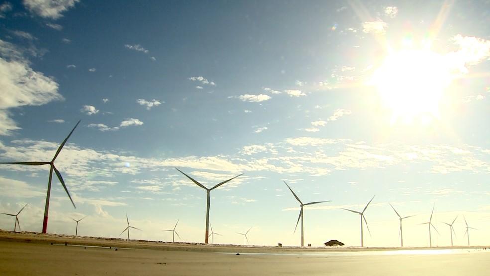 96 aerogeradores são responsáveis por capitar os ventos.  (Foto: Reprodução/TV Mirante)