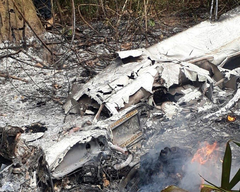 Avião pega fogo após pouso forçado no sudeste do Pará (Foto: Reprodução / Polícia Civil)