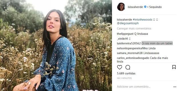 Fã pede presente para Isis Valverde (Foto: Reprodução/Instagram)