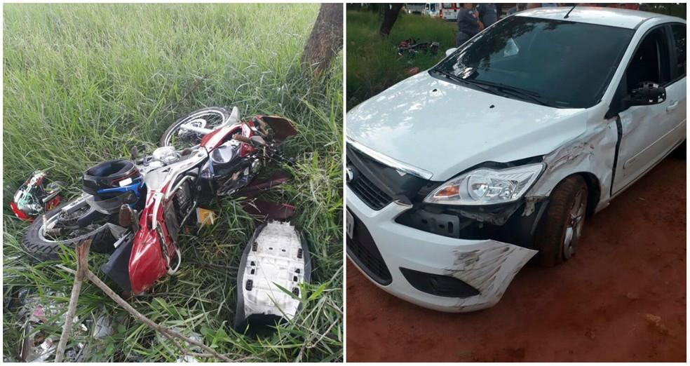 Moto colidiu contra carro na SP-225 em Pirassununga no sábado (Foto: Repórter Naressi)