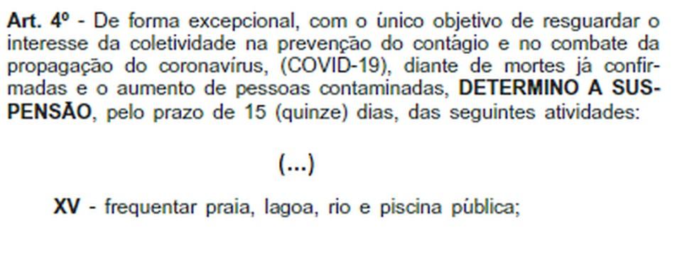 Deceto determinou que, a partir de 19 de março, praias do estado do Rio não poderiam ser frequentadas  — Foto: Reprodução