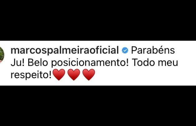 Marcos Palmeira, que fez par romântico com Juliana em 'A Dona do pedaço', também a apoiou (Foto: Reprodução)